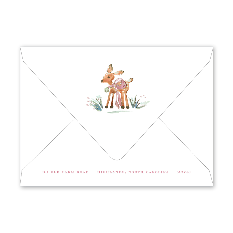 Watercolor Woodland Blush Birth Announcement Envelopes
