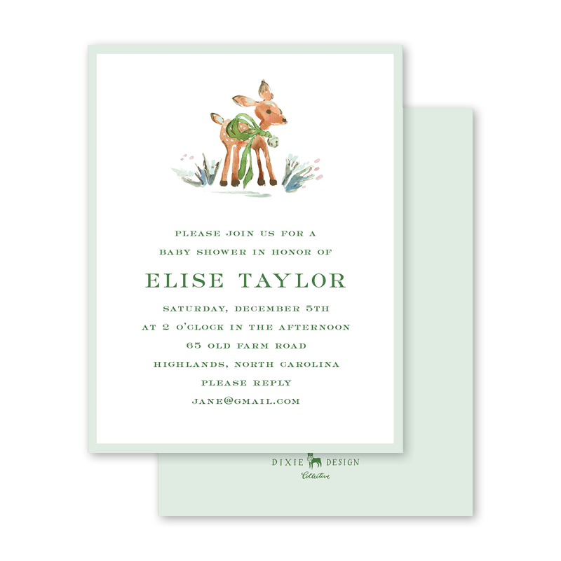 Watercolor Woodland Emerald Baby Shower