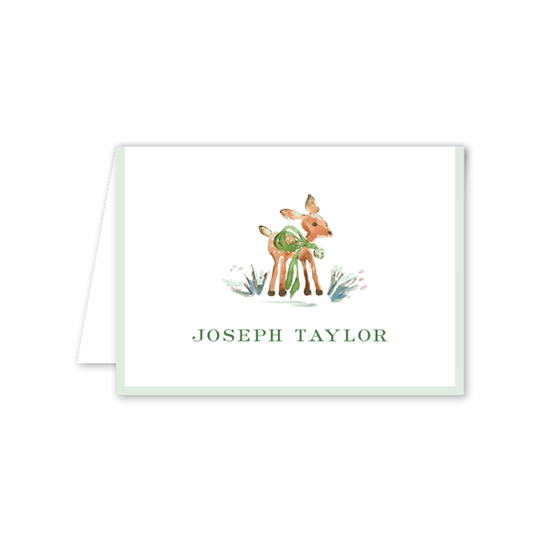 Watercolor Woodland Emerald Folded Notecard