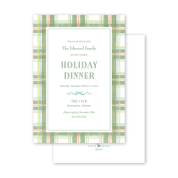 Amaryllis Plaid Invitation