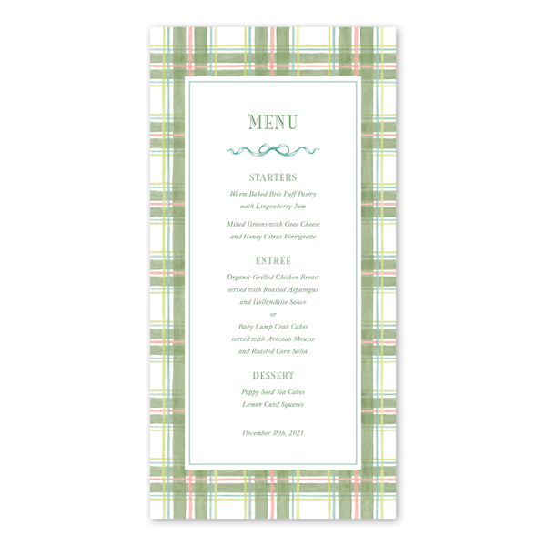 Amaryllis Plaid Menu