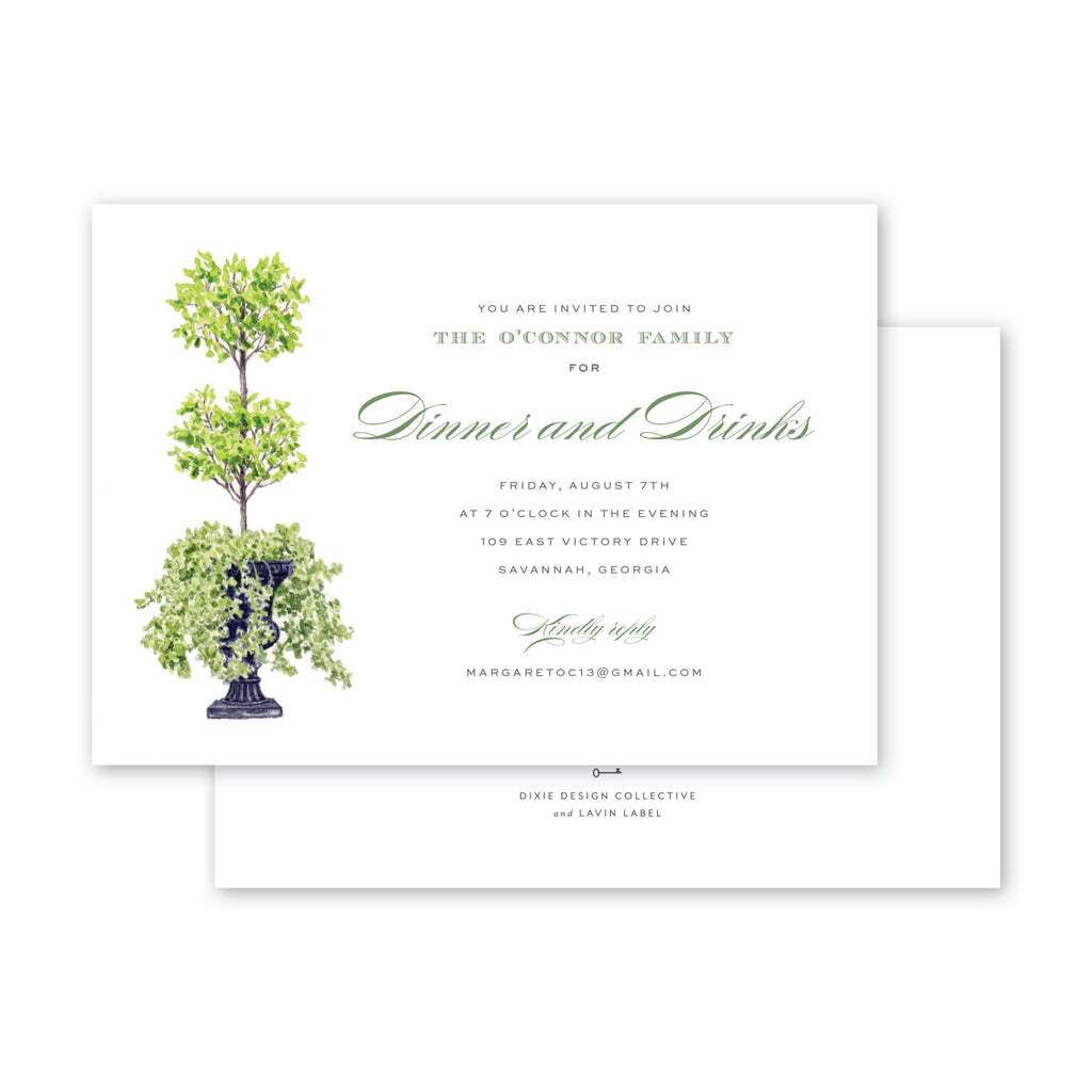 Savannah Jones Street Topiary Invitation