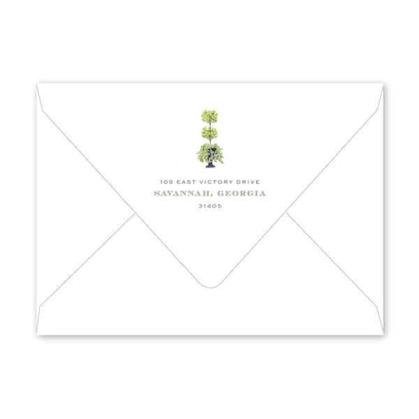 Savannah Jones Street Topiary Invitation Envelopes