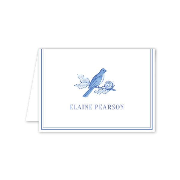 Bird Branch Blue Folded Notecard