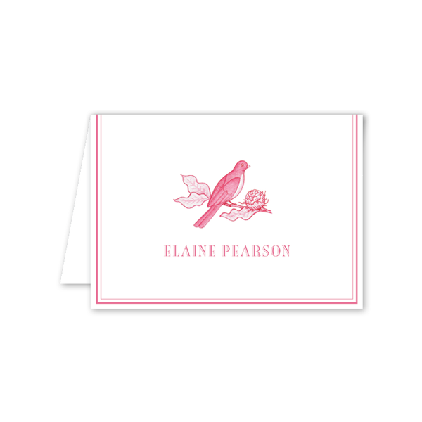 Bird Branch Pink Folded Notecard