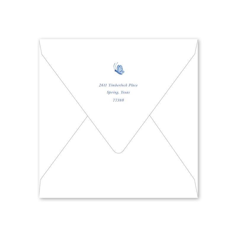 Bird Wreath Blue Baby Shower Envelopes