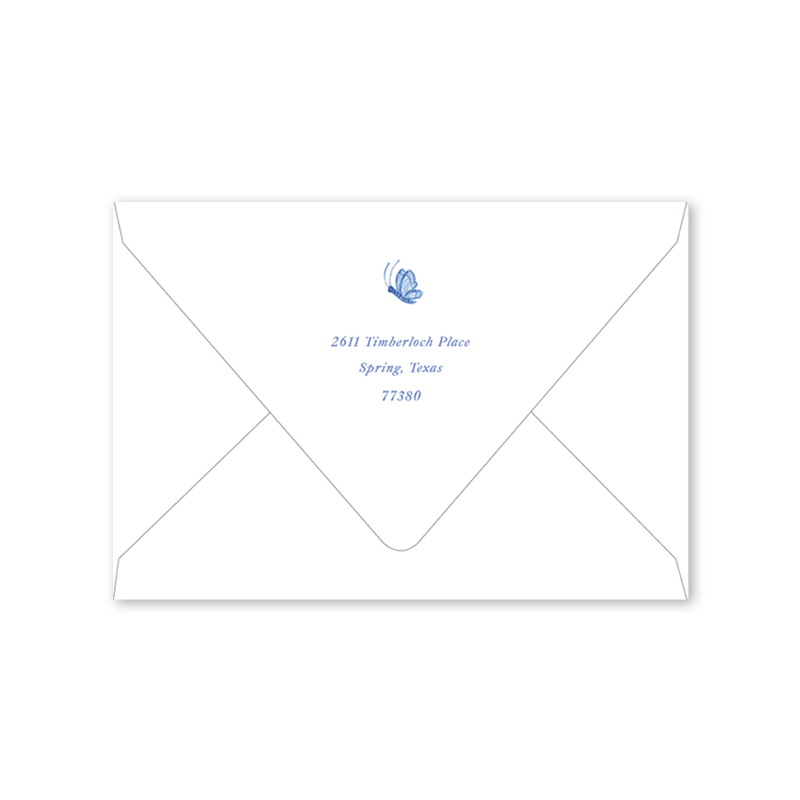 Bird Wreath Blue Folded Notecard Envelopes