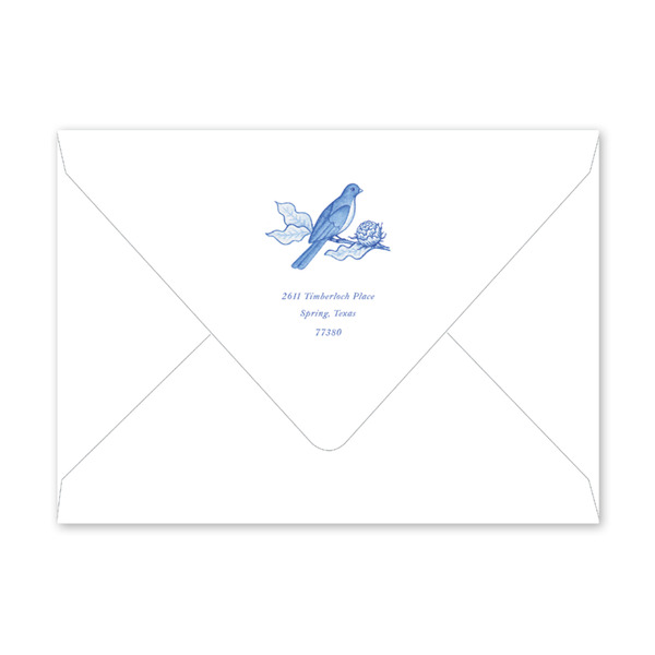 Bird Wreath Blue Portrait Birth Announcement Envelopes