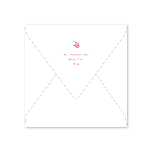 Bird Wreath Pink Baby Shower Envelopes