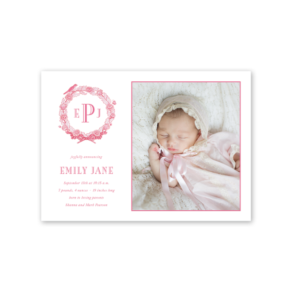 Bird Wreath Pink Birth Announcement