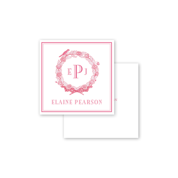 Bird Wreath Pink Calling Card
