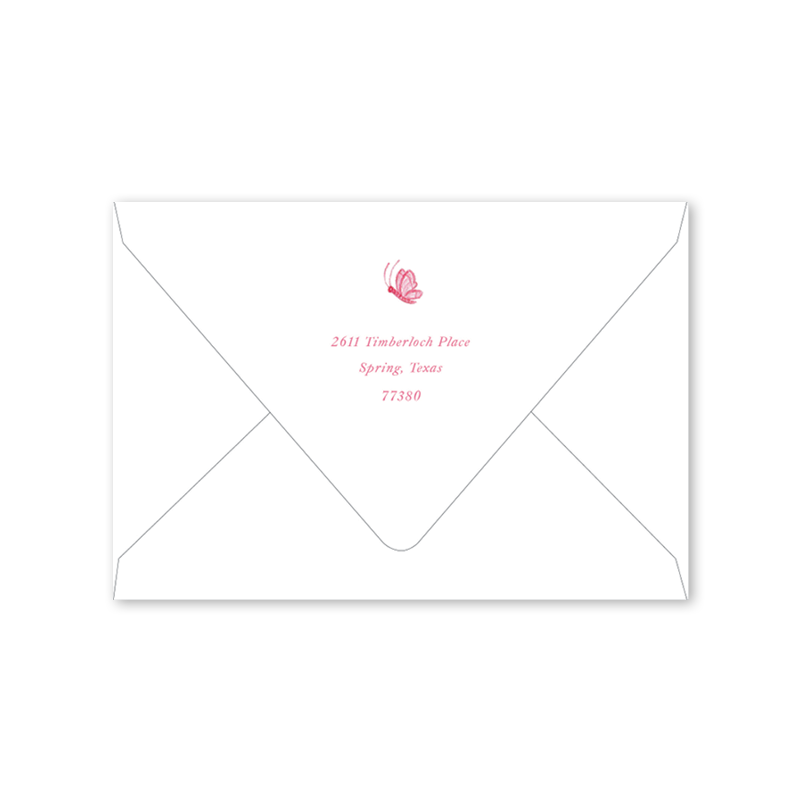 Birth Wreath Pink Folded Notecard Envelopes