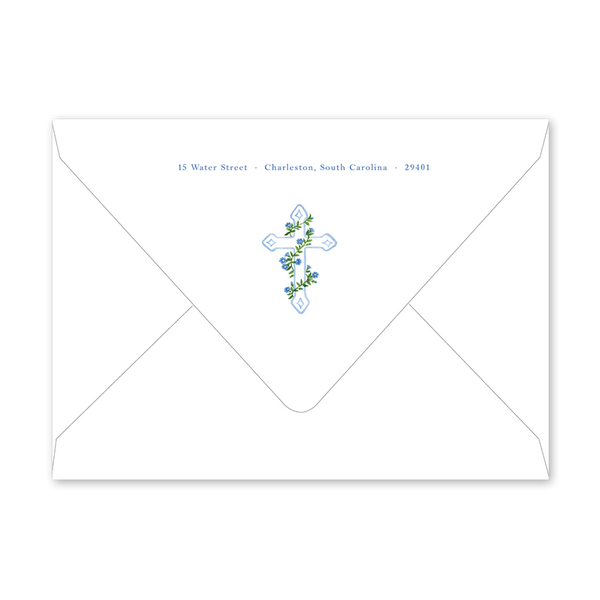 Morning Glory Blue Cross Birth Announcement Envelopes