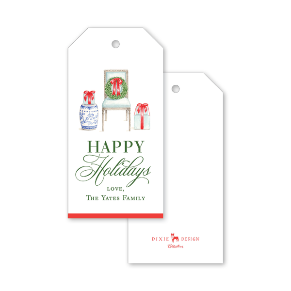Festive Louis XV Chair Holidays Gift Tags