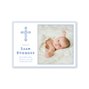 Fleur de lis Blue Cross Landscape Birth Announcement