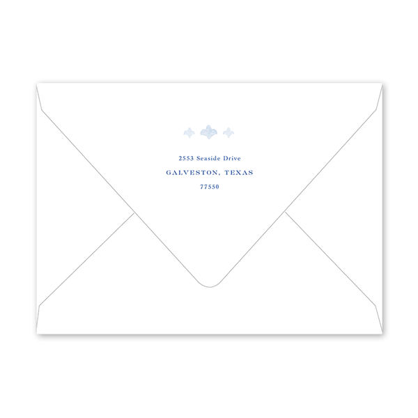 Fleur de Lis Blue Cross Landscape Birth Announcement Envelopes