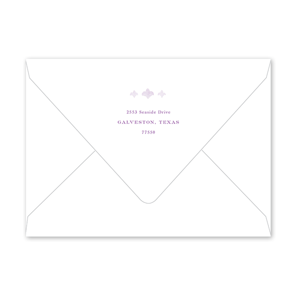 Fleur de Lis Lavender Cross Portrait Easter Envelopes