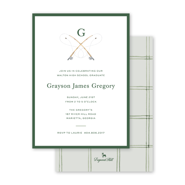 Fly Fishing Graduation Monogram Invitation