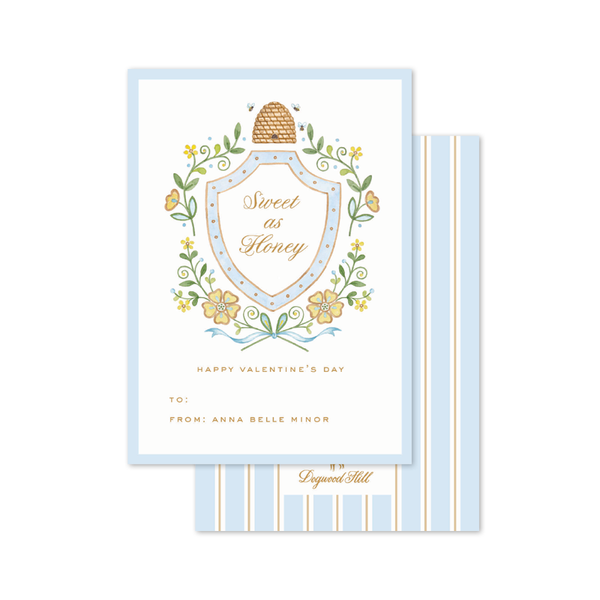 Honey Bees Blue Crest Valentine