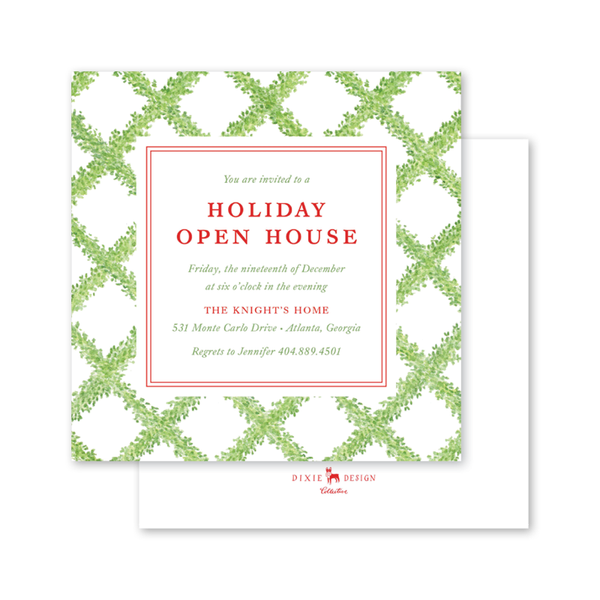 Boxwood Ribbon Square Invitation