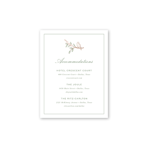Chinoiserie Bird Accommodations Card