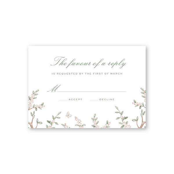 Chinoiserie Branches Reply Card