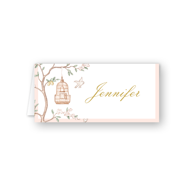 Chinoiserie Garden Birdhouse Place Card