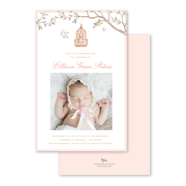 Chinoiserie Garden Birth Announcement
