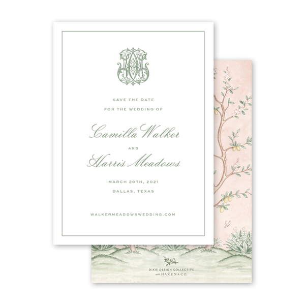 Chinoiserie Monogram Save The Date