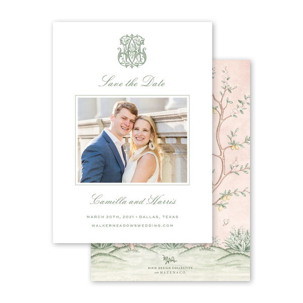 Chinoiserie Monogram Photo Save The Date