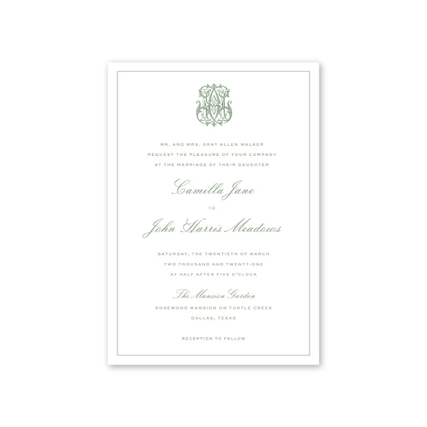 Chinoiserie Monogram Wedding Invitation