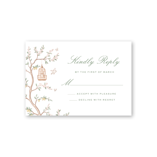 Chinoiserie Reply Card