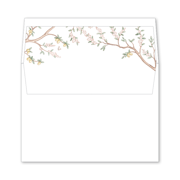 Chinoiserie Branches Wedding Invitation Envelope Liner