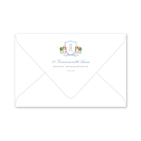 Dash Topiary and Toile Crest Border Envelopes