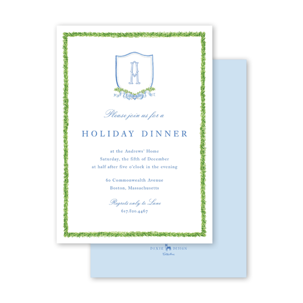 Dash Topiary and Toile Crest Invitation