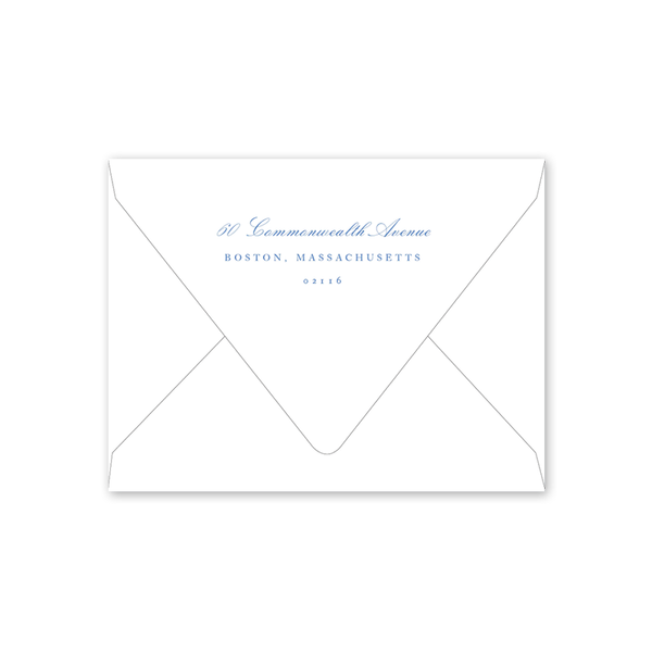 Dash Topiary and Toile Crest Moving Announcement Envelopes