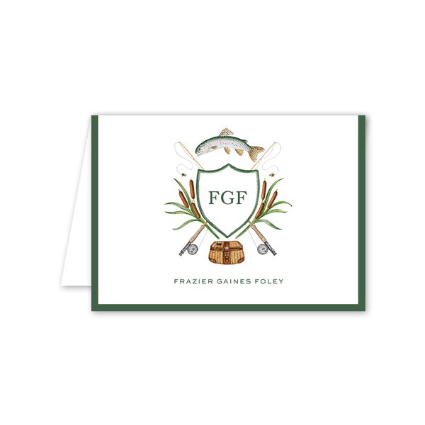 Fly Fishing Crest Folded Notecard