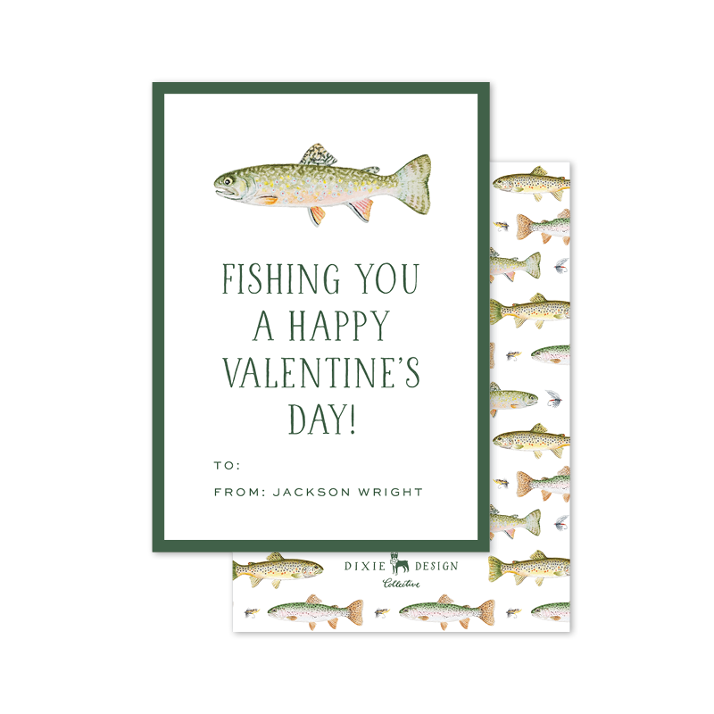 I Fishing Love You Happy Valentines Day Greeting Card. Fish FISH