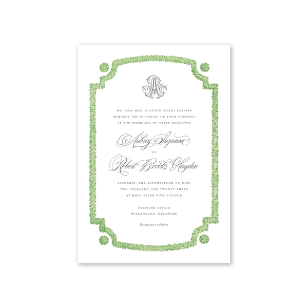 Parterre Boxwood Wedding Invitation