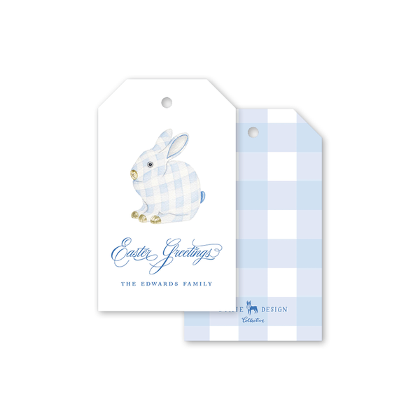 Porcelain Bunny Ginghan Easter Gift Tags