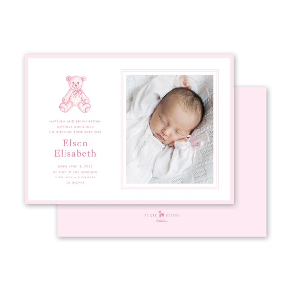 Sugar and Spice Pink Bear Birth Announcement