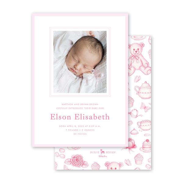 Sugar and Spice Pink Birth Announcement