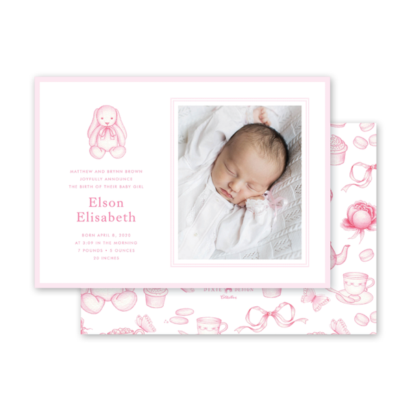 Sugar and Spice Pink Bunny Birth Announcement