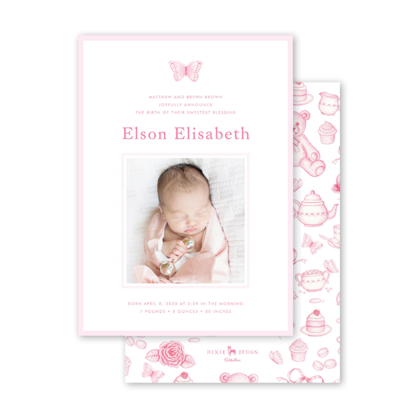 Sugar and Spice Pink Butterfly Birth Announcement
