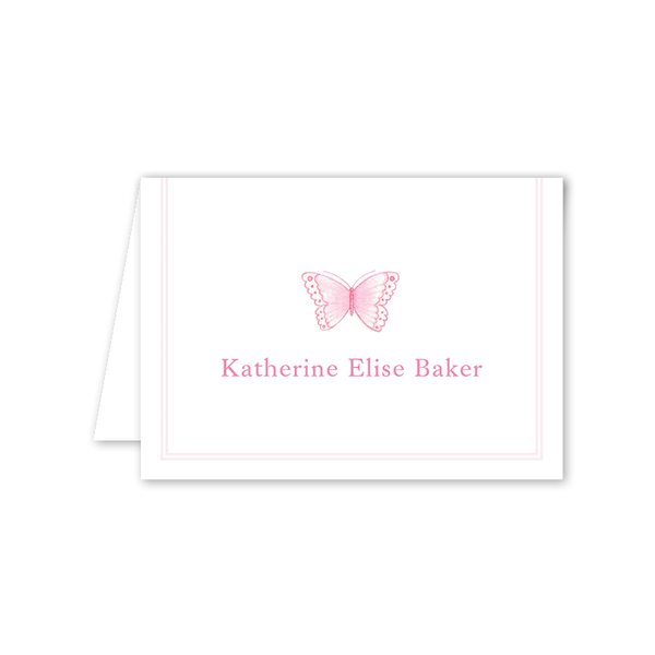 Sugar and Spice Pink Butterfly Folded Notecard