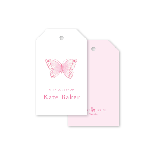 Sugar and Spice Pink Butterfly Gift Tags