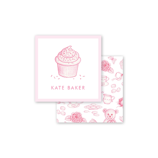 Sugar and Spice Pink Cupcake Calling Card