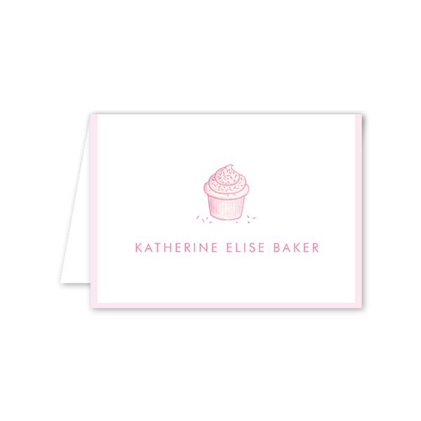 Sugar and Spice Pink Cupcake Folded Notecard