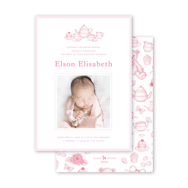 Sugar and Spice Pink Tea Set Birth Announcement