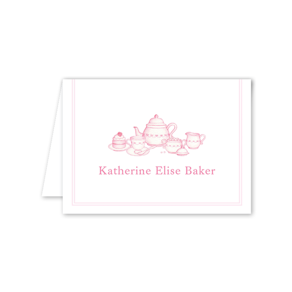 Sugar and Spice Pink Tea Set Folded Notecard